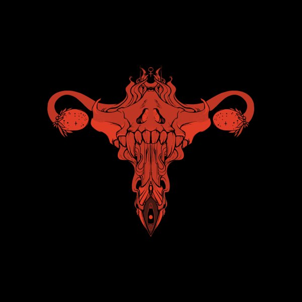 image for Death Metal Skull Uterus And Ovaries, Feminist Art
