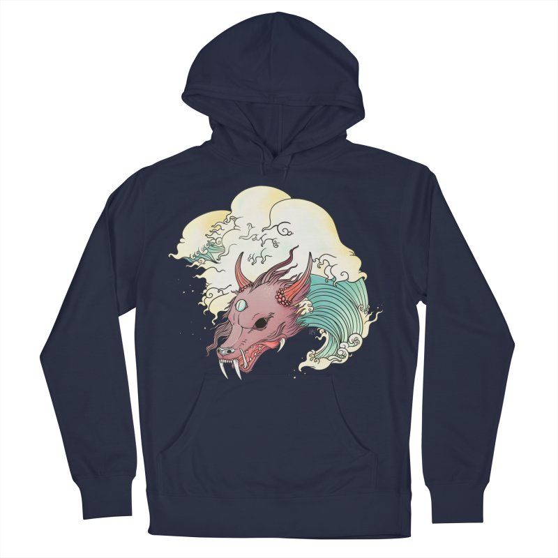 Chinese Dragon With Great Wave Surreal Artwork Men's Pullover Hoody by CellsDividing's Artist Shop