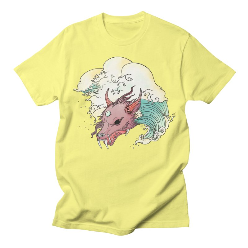 Chinese Dragon With Great Wave Surreal Artwork Men's T-Shirt by CellsDividing's Artist Shop