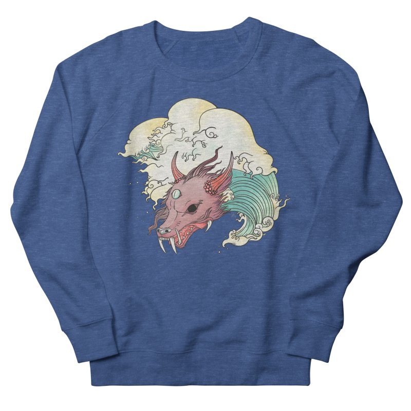 Chinese Dragon With Great Wave Surreal Artwork Men's Sweatshirt by CellsDividing's Artist Shop