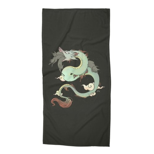 image for Chinese Dragon With Wolf Head And Black Cats Surreal Artwork