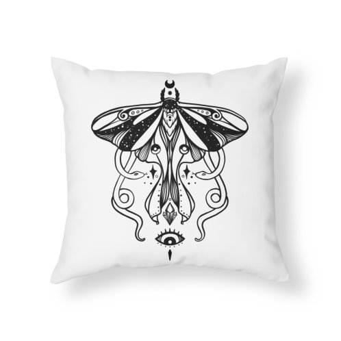 image for Luna Moth With Snakes, Third Eye, And Gemstones Witchy Line Art Illustration