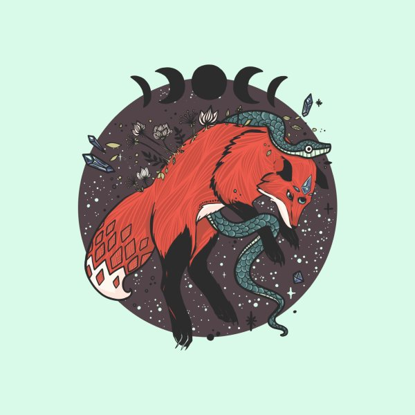 image for Jumping Fox With Snake, Moon Phases, Flora & Fauna, And Witchy Elements