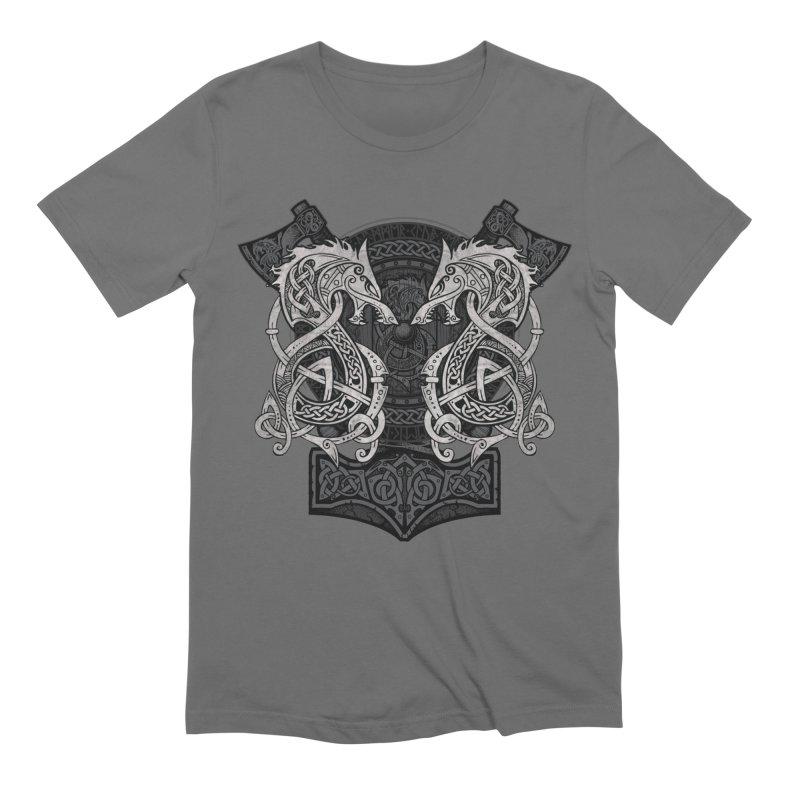Fighting Fenrir Men's T-Shirt by Celtic Hammer Club