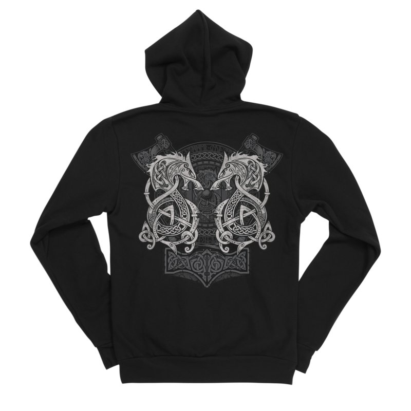 Fighting Fenrir Men's Sponge Fleece Zip-Up Hoody by Celtic Hammer Club