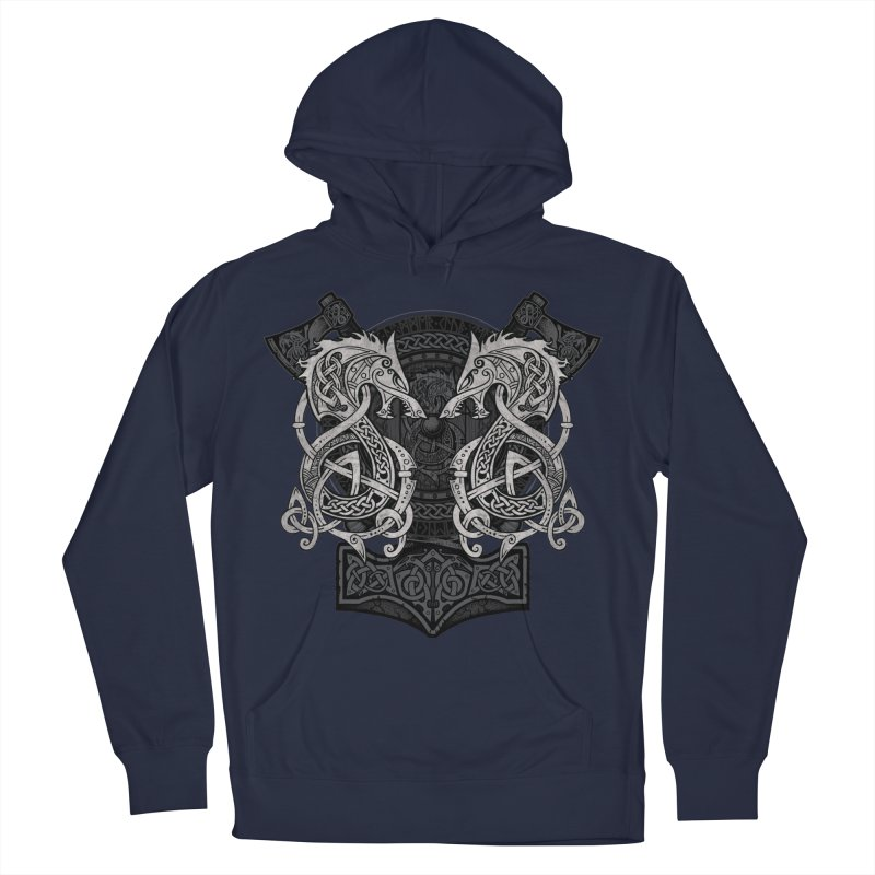 Fighting Fenrir Men's French Terry Pullover Hoody by Celtic Hammer Club