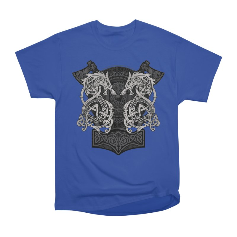 Fighting Fenrir Women's Heavyweight Unisex T-Shirt by Celtic Hammer Club