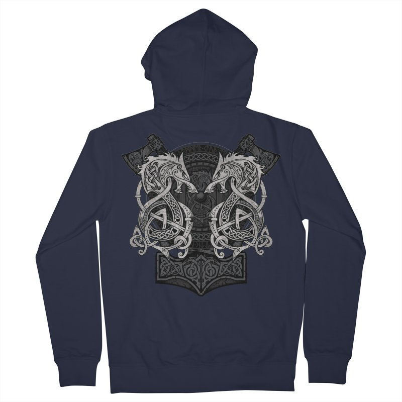 Fighting Fenrir Men's French Terry Zip-Up Hoody by Celtic Hammer Club