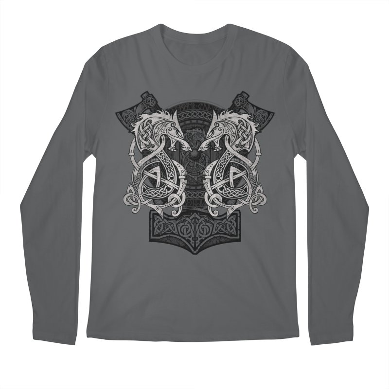 Fighting Fenrir Men's Regular Longsleeve T-Shirt by Celtic Hammer Club