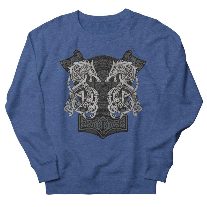 Fighting Fenrir Men's French Terry Sweatshirt by Celtic Hammer Club