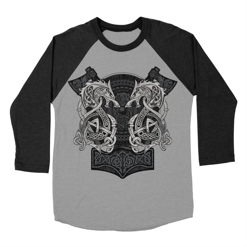 Fighting Fenrir Men's Baseball Triblend Longsleeve T-Shirt by Celtic Hammer Club