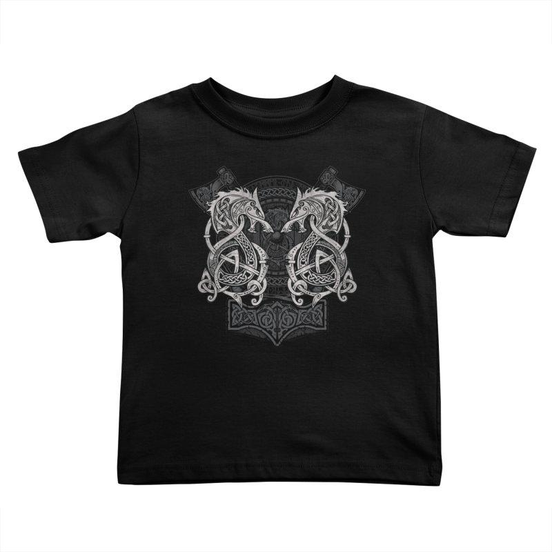 Fighting Fenrir Kids Toddler T-Shirt by Celtic Hammer Club