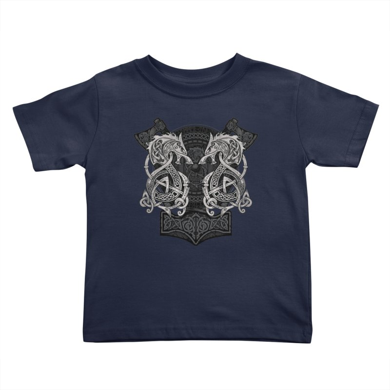 Fighting Fenrir Kids Toddler T-Shirt by Celtic Hammer Club
