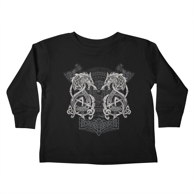 Fighting Fenrir Kids Toddler Longsleeve T-Shirt by Celtic Hammer Club