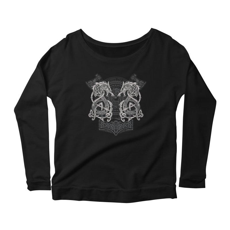 Fighting Fenrir Women's Scoop Neck Longsleeve T-Shirt by Celtic Hammer Club