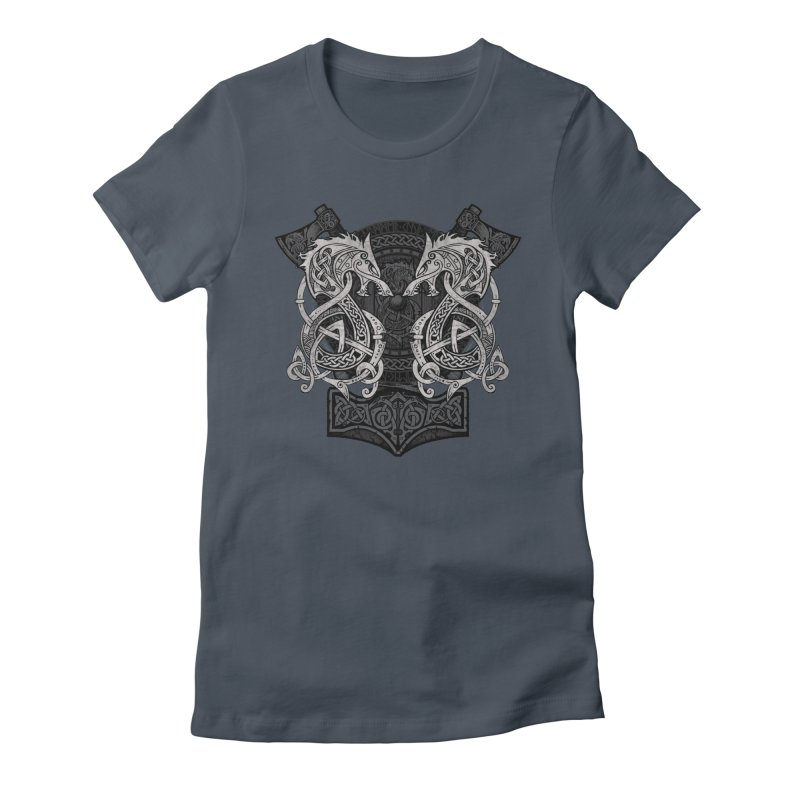 Fighting Fenrir Women's Fitted T-Shirt by Celtic Hammer Club