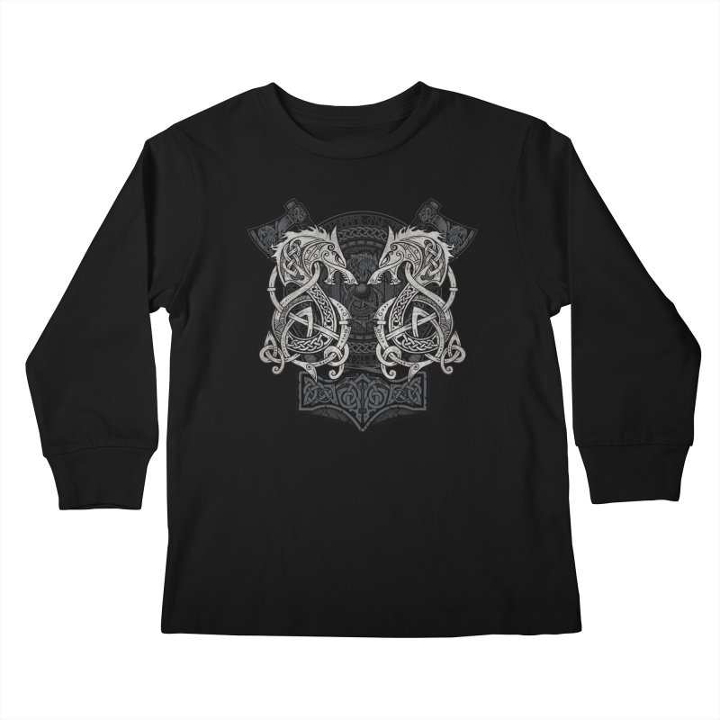 Fighting Fenrir Kids Longsleeve T-Shirt by Celtic Hammer Club