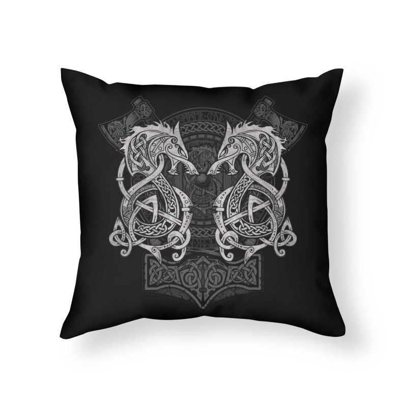 Fighting Fenrir Home Throw Pillow by Celtic Hammer Club