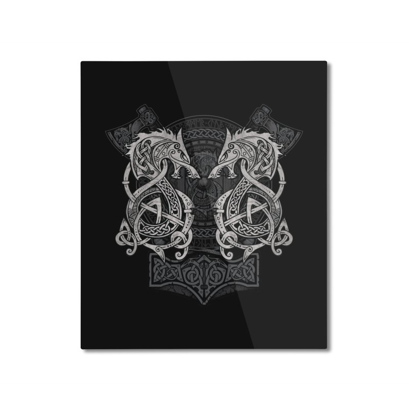 Fighting Fenrir Home Mounted Aluminum Print by Celtic Hammer Club