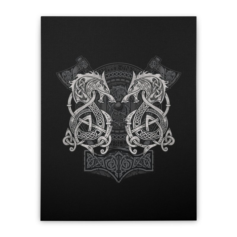 Fighting Fenrir Home Stretched Canvas by Celtic Hammer Club