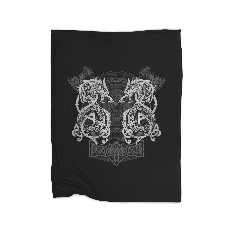 Fighting Fenrir Home Blanket by Celtic Hammer Club