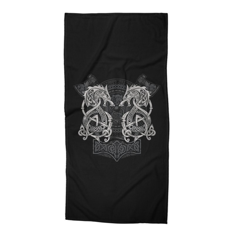 Fighting Fenrir Accessories Beach Towel by Celtic Hammer Club