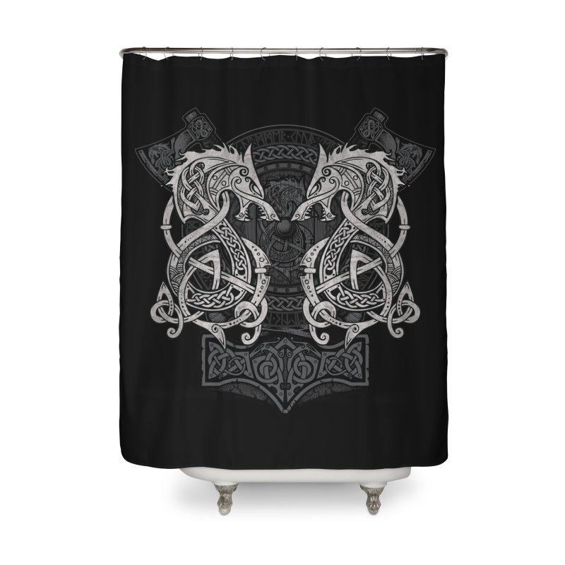 Fighting Fenrir Home Shower Curtain by Celtic Hammer Club