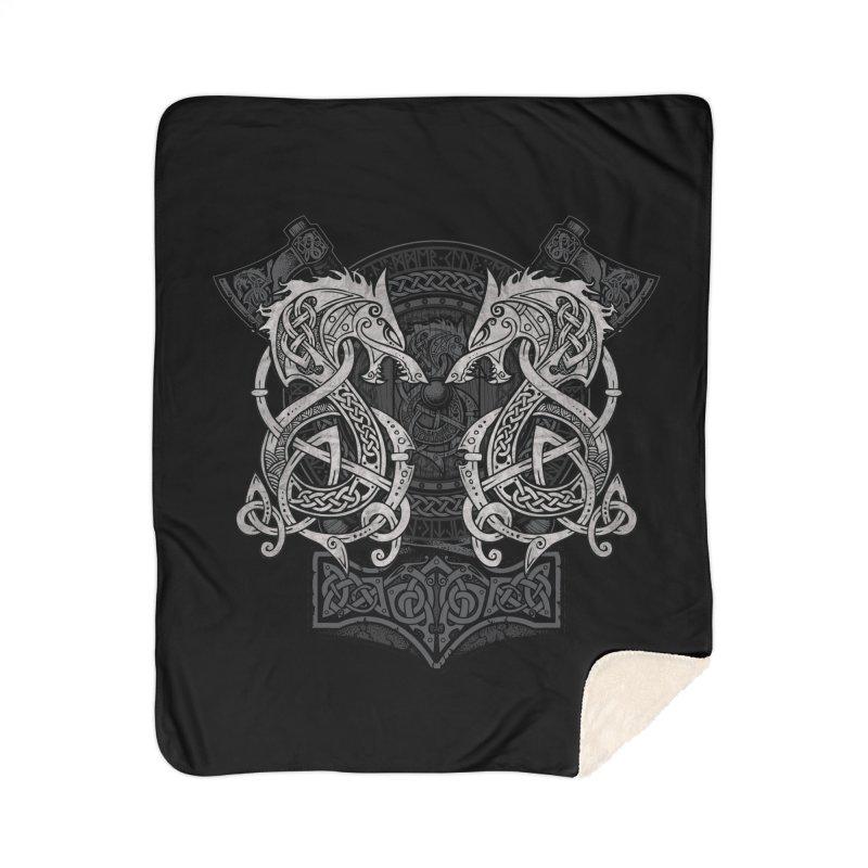 Fighting Fenrir Home Sherpa Blanket Blanket by Celtic Hammer Club