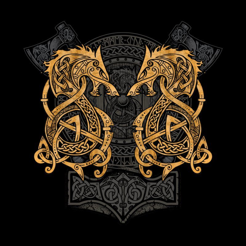 Fighting Fenrir Gold Men's T-Shirt by Celtic Hammer Club