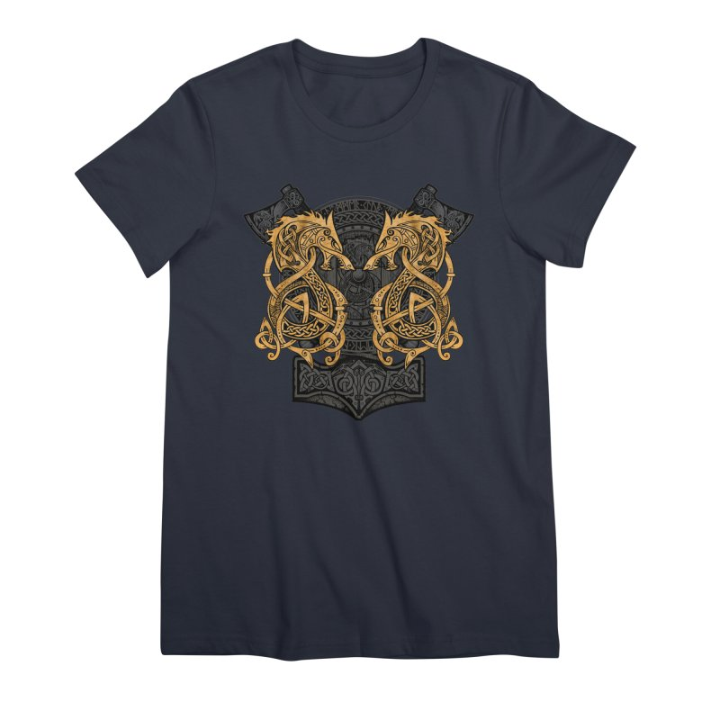 Fighting Fenrir Gold Women's Premium T-Shirt by Celtic Hammer Club