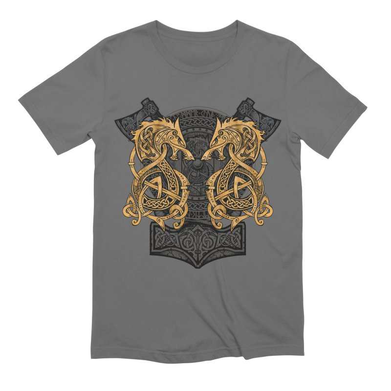Fighting Fenrir Gold Men's Extra Soft T-Shirt by Celtic Hammer Club