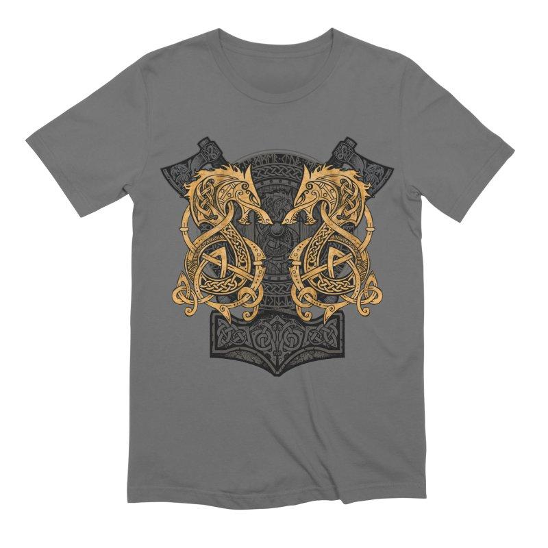 Fighting Fenrir Gold Men's T-Shirt by Celtic Hammer Club