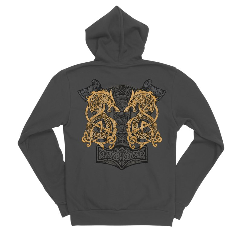 Fighting Fenrir Gold Men's Sponge Fleece Zip-Up Hoody by Celtic Hammer Club