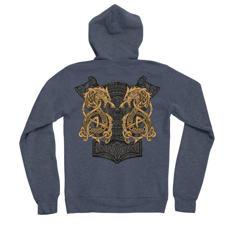 Fighting Fenrir Gold Women's Sponge Fleece Zip-Up Hoody by Celtic Hammer Club
