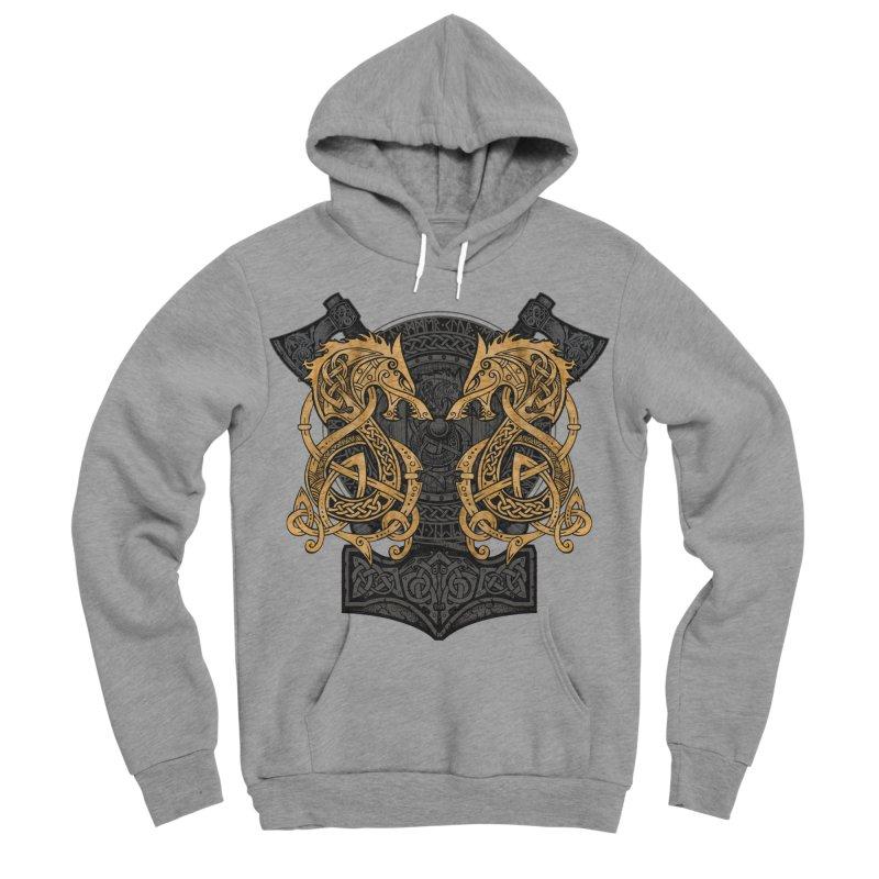 Fighting Fenrir Gold Men's Sponge Fleece Pullover Hoody by Celtic Hammer Club