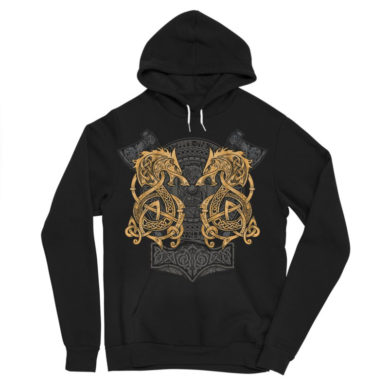 Fighting Fenrir Gold Women's Sponge Fleece Pullover Hoody by Celtic Hammer Club