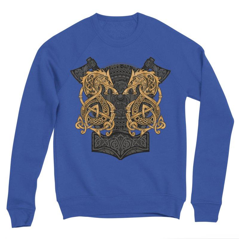 Fighting Fenrir Gold Men's Sponge Fleece Sweatshirt by Celtic Hammer Club