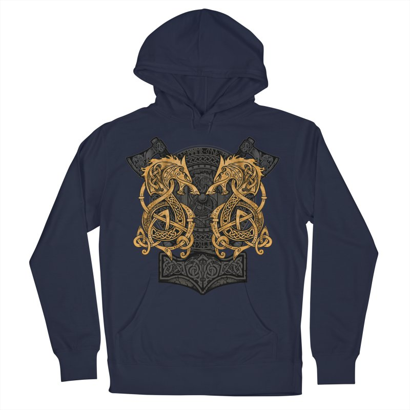 Fighting Fenrir Gold Men's Pullover Hoody by Celtic Hammer Club