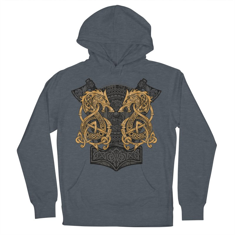 Fighting Fenrir Gold Men's French Terry Pullover Hoody by Celtic Hammer Club