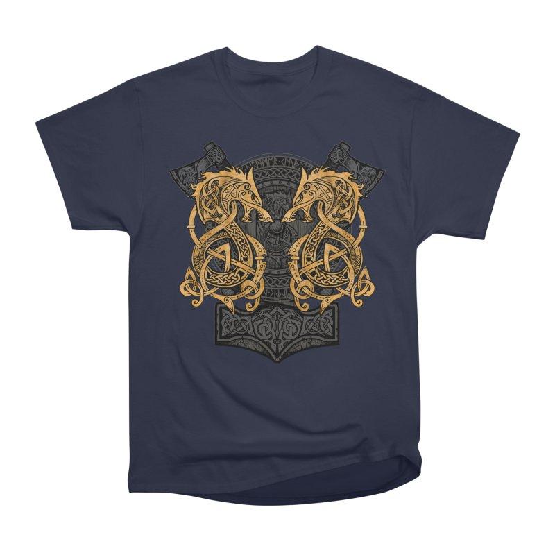 Fighting Fenrir Gold Men's Heavyweight T-Shirt by Celtic Hammer Club