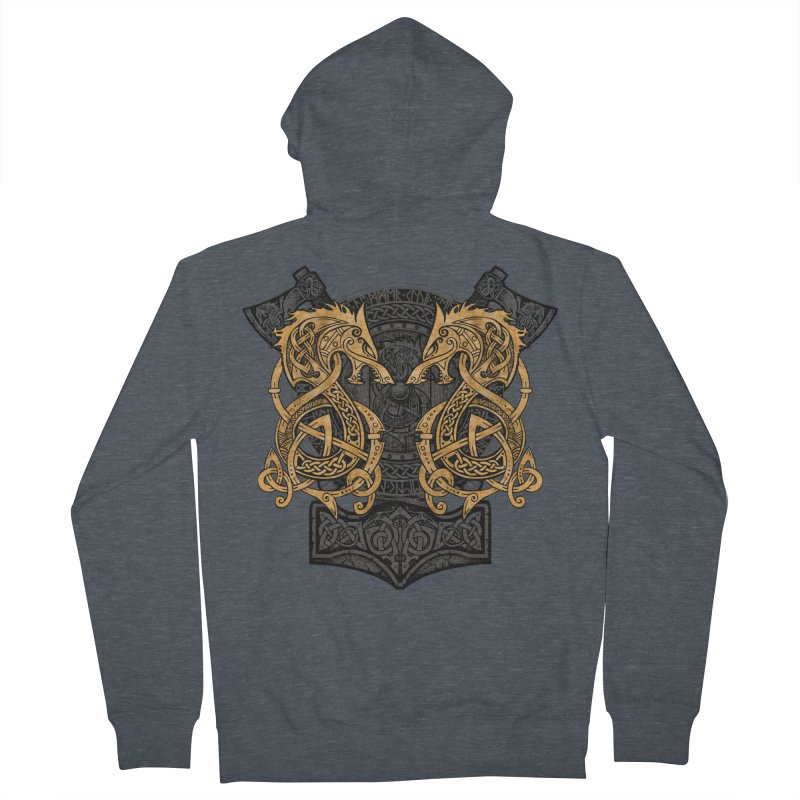 Fighting Fenrir Gold Women's French Terry Zip-Up Hoody by Celtic Hammer Club