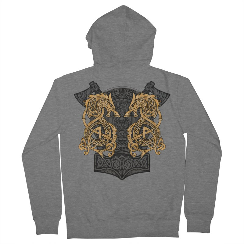 Fighting Fenrir Gold Men's Zip-Up Hoody by Celtic Hammer Club