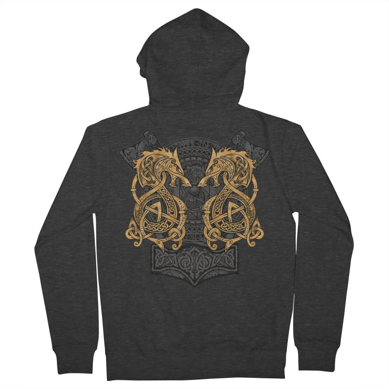 Fighting Fenrir Gold Men's French Terry Zip-Up Hoody by Celtic Hammer Club