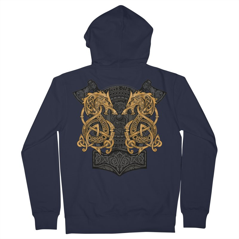 Fighting Fenrir Gold Men's Zip-Up Hoody by Celtic Hammer Club