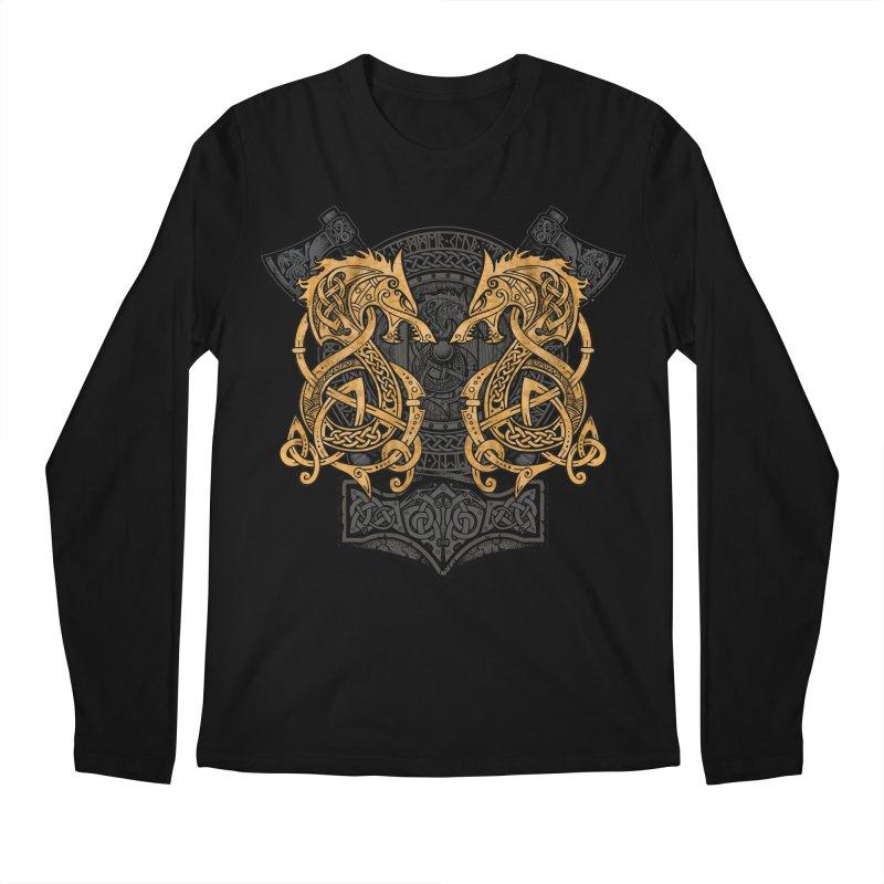 Fighting Fenrir Gold Men's Regular Longsleeve T-Shirt by Celtic Hammer Club