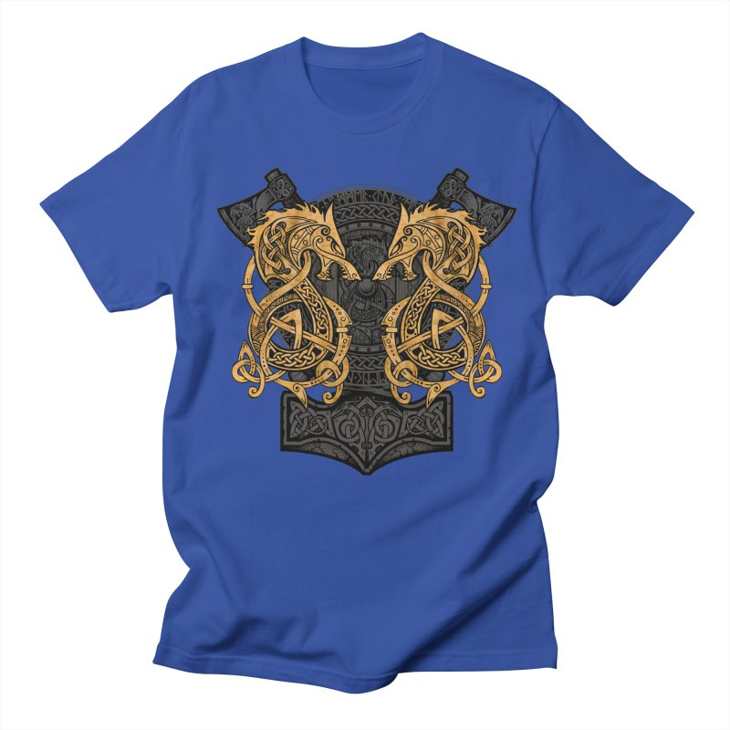 Fighting Fenrir Gold Men's Regular T-Shirt by Celtic Hammer Club