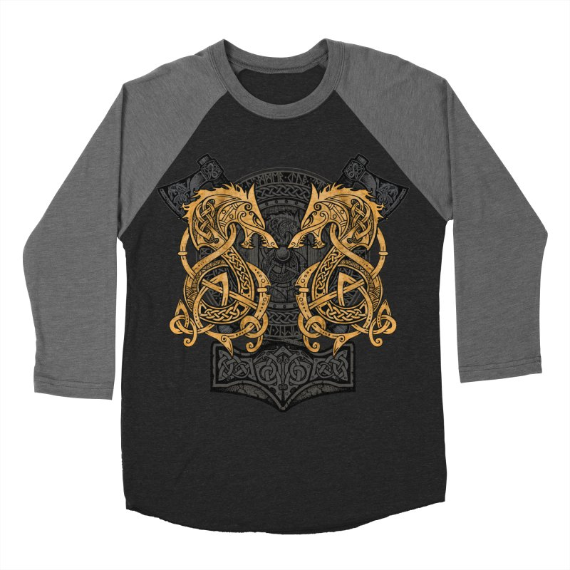 Fighting Fenrir Gold Men's Baseball Triblend Longsleeve T-Shirt by Celtic Hammer Club
