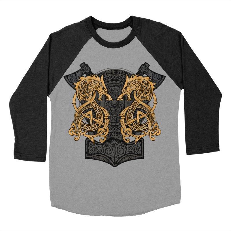Fighting Fenrir Gold Men's Baseball Triblend Longsleeve T-Shirt by Celtic Hammer Club