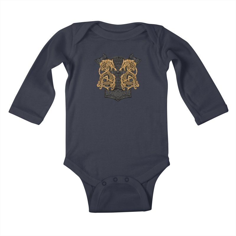 Fighting Fenrir Gold Kids Baby Longsleeve Bodysuit by Celtic Hammer Club