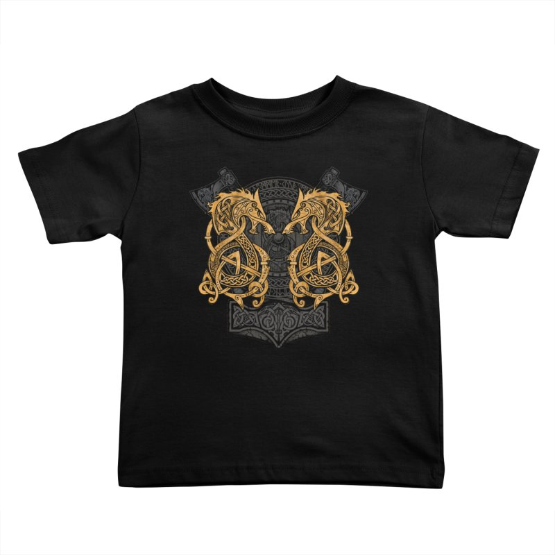 Fighting Fenrir Gold Kids Toddler T-Shirt by Celtic Hammer Club